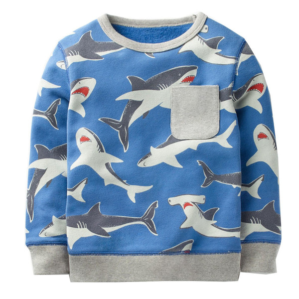 Boys T shirts Kids Sweatshirt Animal Pattern Tops Autumn Winter Hoodie Baby Girl Clothes Children Hoodies for Boys Clothing 2-7Y
