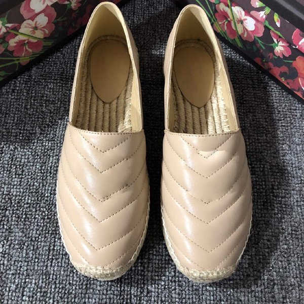 Hot Sale- Women Leather Canvas Espadrilles Top Quality Real Lambskin Women Flat Shoes Pearl Espadrilles Size EUR35-41 Come with Box Dust bag