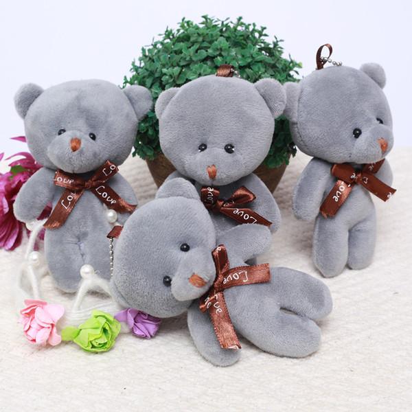 Mini Urso Conjunto Recheado de Pelúcia Brinquedos 12 cm Bonito Cinza Teddy Bears Pingente Bonecas Presentes de Aniversário Festa de Casamento Decoração