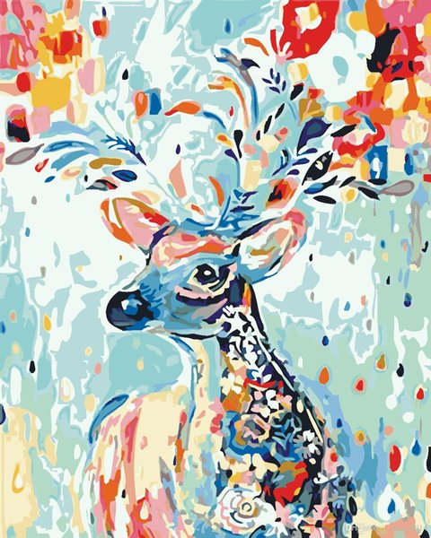 16x20 inches DIY Paint on Canvas by Number Kits Abstract Art Acrylic Oil Painting for Adults Children Spring Forest Color Deer