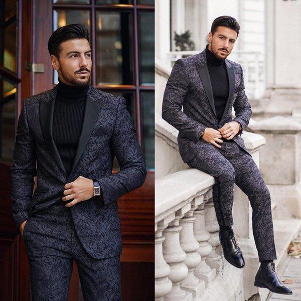 Две пьесы 2020 Black ДОНЕГОЛ Tweed Groom Tuxedos Нотч One Button Men Свадебный смокинги мужчин Званый ужин костюм (куртка + брюки)