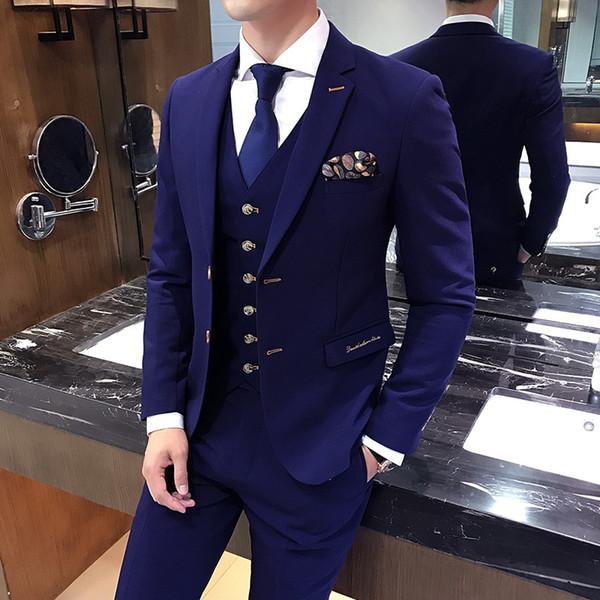 Traje De Boda Hombre Slim British Style Embroidered Suit 3-piece Suit Male Bule Casual Wedding Groomsmen Dress