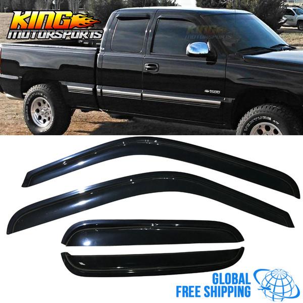 Fits 01-07 Silverado Sierra Extended Cab Acrylic Window Visors 4Pc