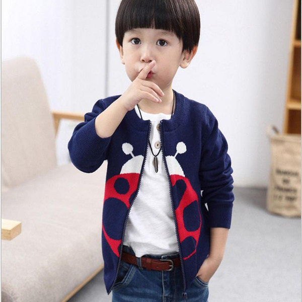 Wholesale- New 2016 Children sweater 100% cotton sweater kid's fashion and handsome cardigan for utumn/winter infant baby Cartoon outerwear