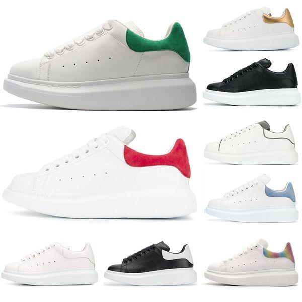 Alexander Mcqueens Luxury Designer Shoes para mujer entrenador para hombre Reflexivo 3M Triple blanco Plataforma de cuero Zapatilla de deporte plana Casual Party Brand Shoes