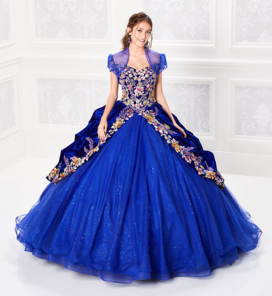 2019 бальное платье Quinceanera платья из бисера лиф корсет тюль слоистых вышивка платье выпускного вечера королевский синий блеск Принцесса платья на шнуровке