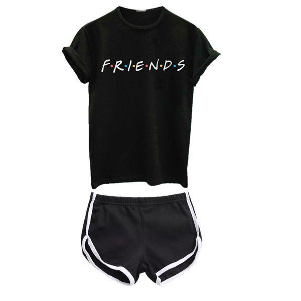 Friends Letters Print Sport Yoga Set Gym Sports Running Tracksuit Jogging Dance Yoga Suit Workout Clothing T-Shirt & Shorts Set #970033