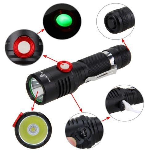 2000 lumens XM-L2 LED Flashlight USB Rechargeable Self Defense Torch Lamp Bicycle Light Waterproof for Outdoor Camping Running