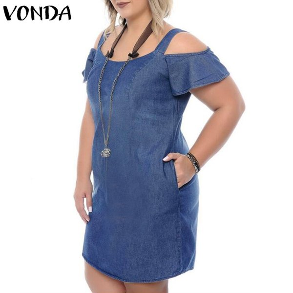 VONDA Women Casual Denim Mini Dress 2018 Summer Female Sexy Off spalla O Collo manica corta Solid Plus Size Ruffles Vestidos