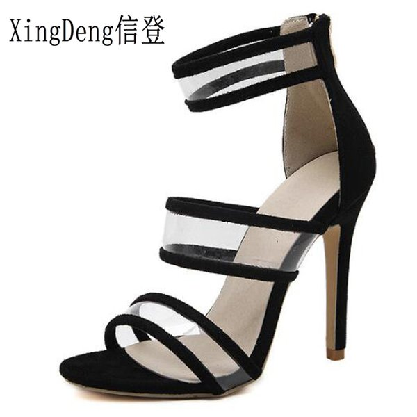 XingDeng Ladies Summer Party Sexy Zipper Cross Strap Flock Sandals Shoes 35-40 European Style Transparet High Heel Sandal Shoes