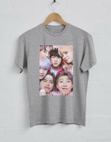 Bangtan Boys BTS KPOP Logo Negro Gris Blanco Camiseta Unisex Hombres Mujeres