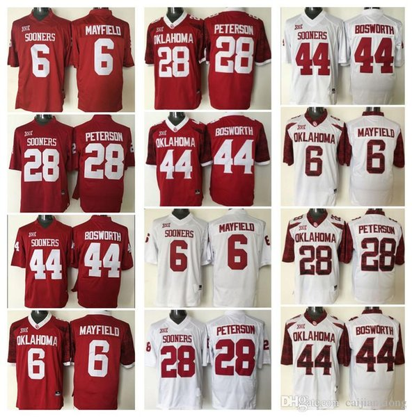 the latest 2ec43 06149 2018 Oklahoma Sooners Kids Youth #28 Adrian Peterson #44 Brian Bosworth #6  Baker Mayfield Youth College Football Jerseys Red White From Jerseys1685,  ...