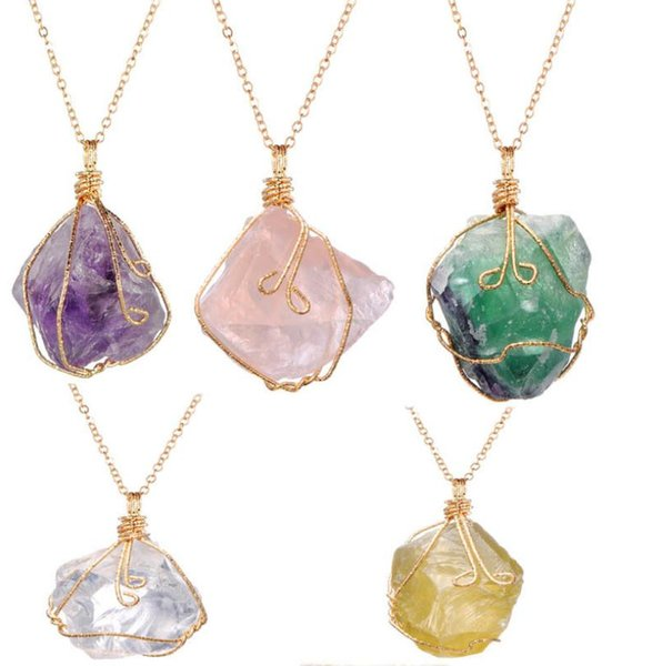 Hot Natural Crystal Quartz Stone Necklace Gemstone Pendant Women Irregular Necklace Womens Druzy Quartz Clusters Geode Jewelry dc459
