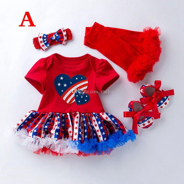 Summer baby girl clothes Print 4th of july outfits girls Short Sleeve Stars ROMPER Dress & RUFFLE LEGGINGS & SOCKS & Headbands Set Outfit