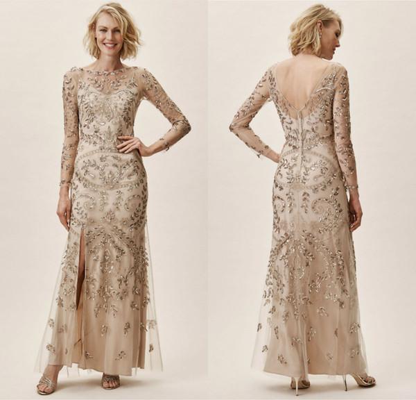 2019 BHLDN Anne Gelin Elbiseler Jewel Boyun Dantel Boncuk Sequins Uzun Kollu Düğün Konuk Elbise Ayak Bileği Uzunluk Artı Boyutu Abiye giyim