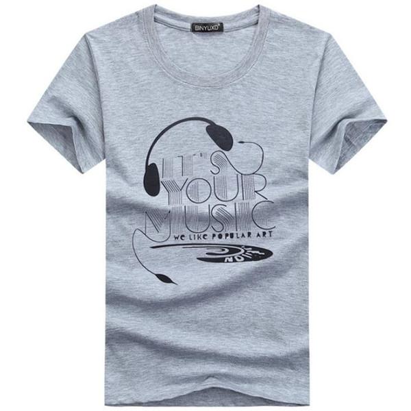 En Kaliteli T Shirt Moda Kulaklık Karikatür Baskılı Rahat T Gömlek Erkekler Marka T-shirt Pamuk Tee Gömlek Artı Boyutu 5XL BY1