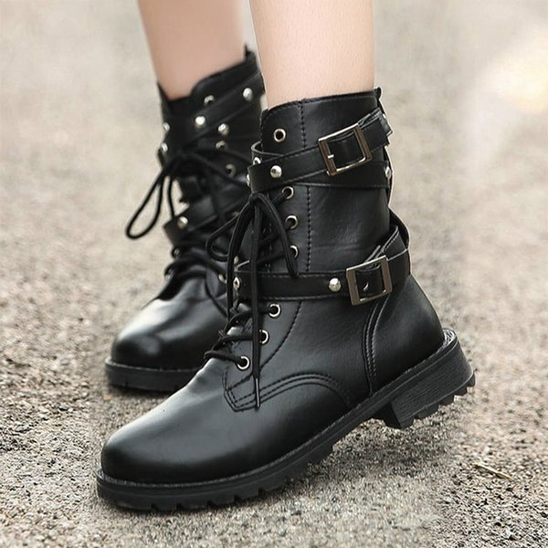 2019 New Buckle Winter Motorcycle Boots Women British Style Ankle Boots Gothic Punk Low Heel ankle Boot Women Shoe Plus Size 42