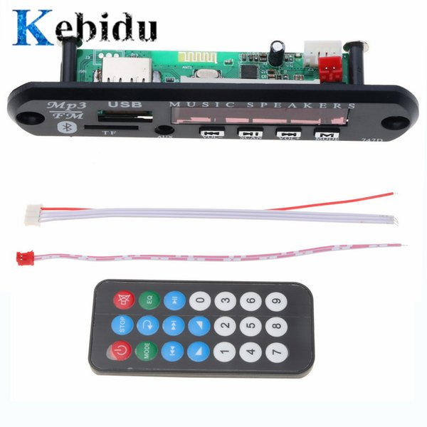 kebidu Wireless Bluetooth Audio Module MP3 WMA Decoder Board USB TF FM Radio 5V 12V for Car Build in Car Speaker MP3 Player