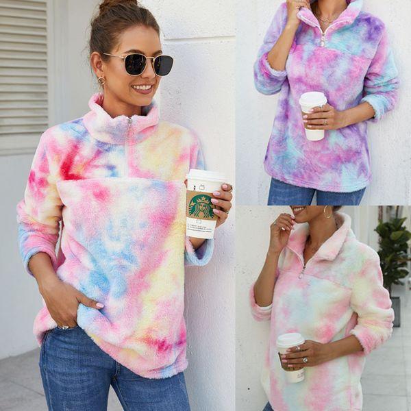 top popular Gradient Fleece Hoodie 3 Colors Rainbow Tie Dye Half Zipper Casual Sweatshirts Soft Warm Tops LJJO7284 2021