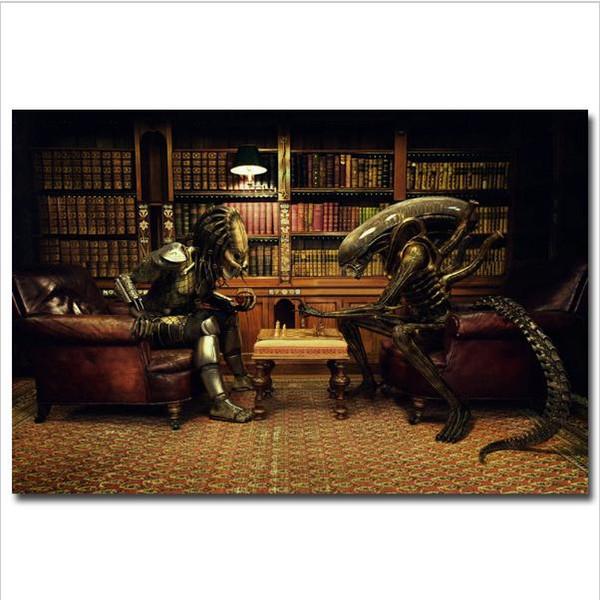 Alien vs Predator 3 Play Chess,Home Decor HD Printed Modern Art Painting on Canvas (Unframed/Framed)