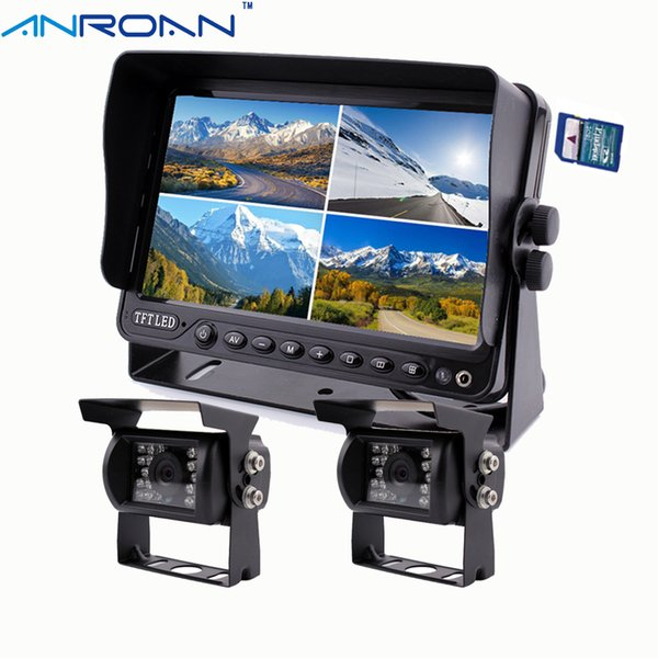 "Anroan Car 9"" DVR Video Recorder Monitor Quad Split Screen 2 x Rear View Camera System Backup Camera Kit for Truck"