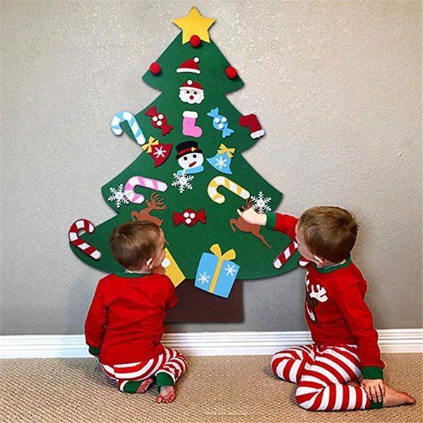 3ft DIY Felt Christmas Tree Set 26pcs Detachable Ornaments Wall Hanging Toddler Kids Gifts Xmas Gifts for Christmas Decorations