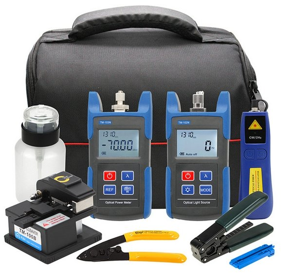 Fiber Optic FTTH Tool Kit with TM100B Fiber Cleaver, Optical Power Meter, Optical Light Source, CFS-2 Fiber Stripper
