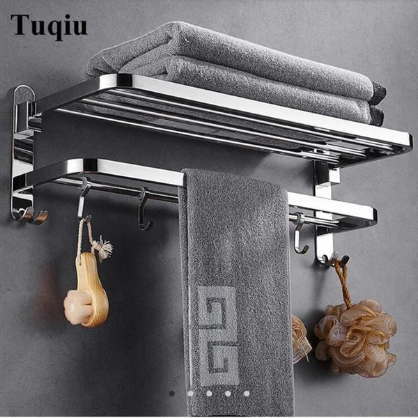 Nail Free Racks Bathroom Chrome Finish Foldable Shelves Towel Bar Bath Hardware Double Level With Hooks Q190529