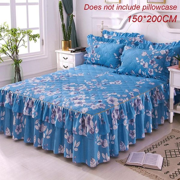150x200cm Blue Queen Bed Cover Warm Thicken Sanding Quilted Single And Double Bed Skirt Wrap Around Non-Slip Bed Cover Pillowcas
