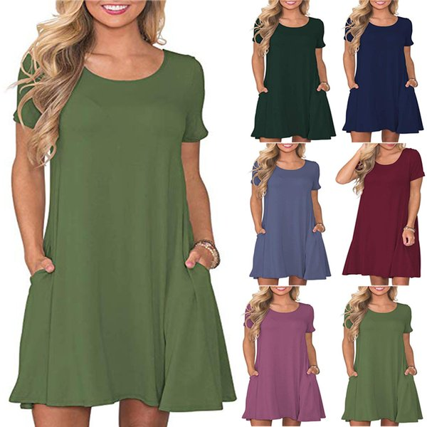 Plus Size Women\'S Mid Length Summer Solid Colour Short Sleeve Camisole  Cotton Pocket Dresses For Girls 14 Teen To 60 Fashion Dress Short Dress  From ...
