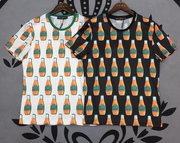 T-shirt da uomo vestito estivo nuovo piccolo girocollo casual selvaggio T-shirt da uomo di moda soda stampa cotone T-shirt da uomo