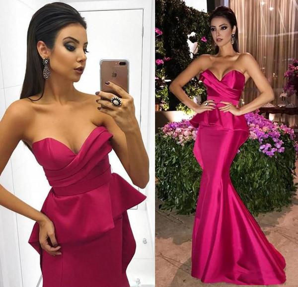 Sexy Fuchsia sirène robes de soirée Longueur étage Prom Party Robes pas cher Robes de festa chérie Plis froncé