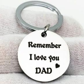 GIFT TO FATHER MOTHER Remember I love you mom dad STAINLESS STEEL KEYRING KEYCHAIN KEYRINGS KEYFOB KEY CHAIN KEY RING FOR BELT BAG CAR KEY