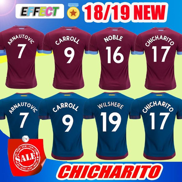0511fc4f2 2018 West Ham United Soccer Jersey CHICHARITO ZABALETA KOUYATE CARROLL  LANZINI PAYET NOBLE J.MARIO 18 19 Home Away football shirt