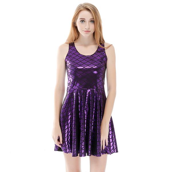 Mujeres Billowing Vestido Sirena Escama de Pez Púrpura Impreso en 3D Chica Elástico Casual Plisado Vestidos de Parasol Señora Sin Mangas Falda (RYLDB008)