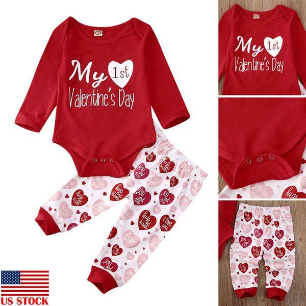 US Infant Baby Girls Valentine Clothes Cotton Romper Velvet Pants Skirt Outfits