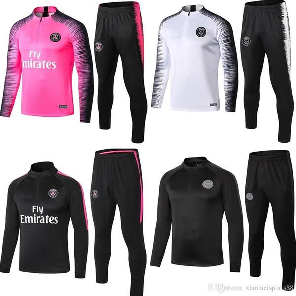 nuevos hombres de manga larga de Psg chándal 2019 2020 PSG fútbol rosa correr Chandal Mbappé 19 20 Paris fútbol infantil kit de ropa de entrenamiento Survetement