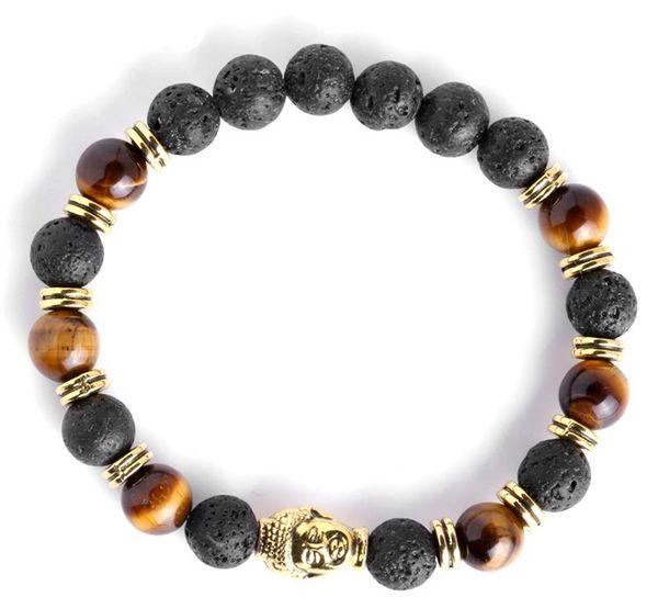 Linql 2 unids / set pulseras para hombre pulsera de Buda de lava para hombres cuentas de piedra natural pulsera regalo religión yoga pulseras pulseira masculina K2599