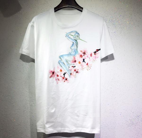 2019 uomini t shirt mens moda manica corta maglietta robot sakura lettere stampato casual t-shirt maschile marchio di abbigliamento tee top
