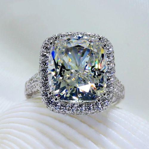 Taille 5/6/7/8/9/10 Big Stone 10CT luxe Jewerly or blanc 14 carats rempli 192 TOPAZ CZ Diamant Mariage Femmes Bague de Fiançailles Bague pour cadeau d'amour