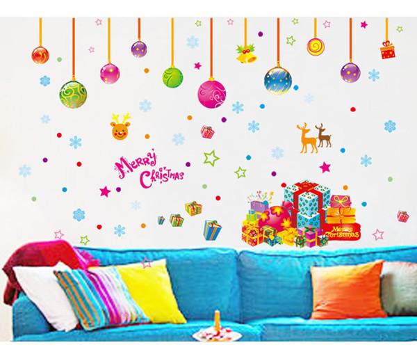 Decorazioni natalizie in vetro Adesivi vetrate Babbo Natale e Snow Tree Sitting Room Adesivi murali