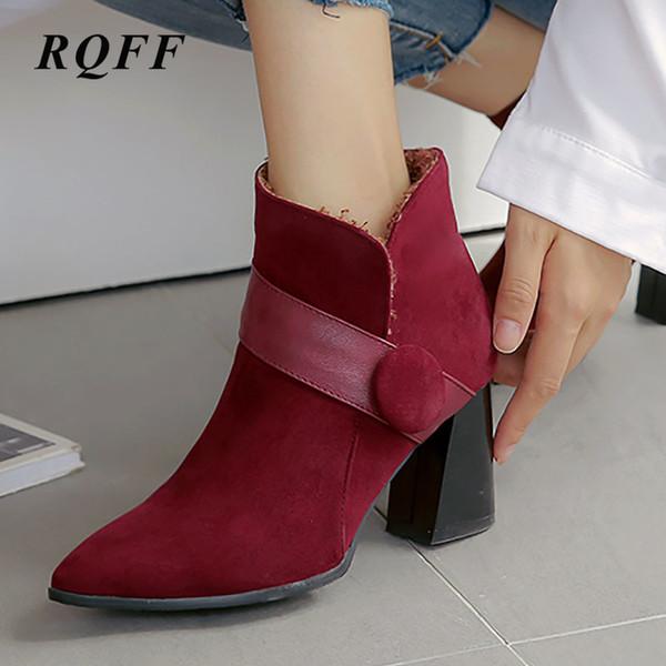 Moda Ayakkabı Kadın Flock Bilek Brown Black için Temel Boot Sivri Burun Yüksek Kare Topuk Kadın Çizme Sonbahar Büyük Boy ayakkabı Zip