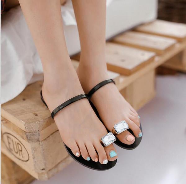 Xda New Fashion Summer Sandals Crystal Rhinestone Women Flats Sandals Fashion Flip Flops Set Of Toe Casual Slipper W247
