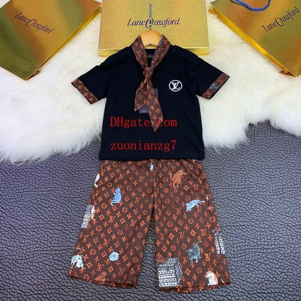 2019 Spring boy girl tracksuits Letter printing t-shirt Tie Loose wide leg pants long Pants Two-piece Suit Children's Clothing Sets o-c1