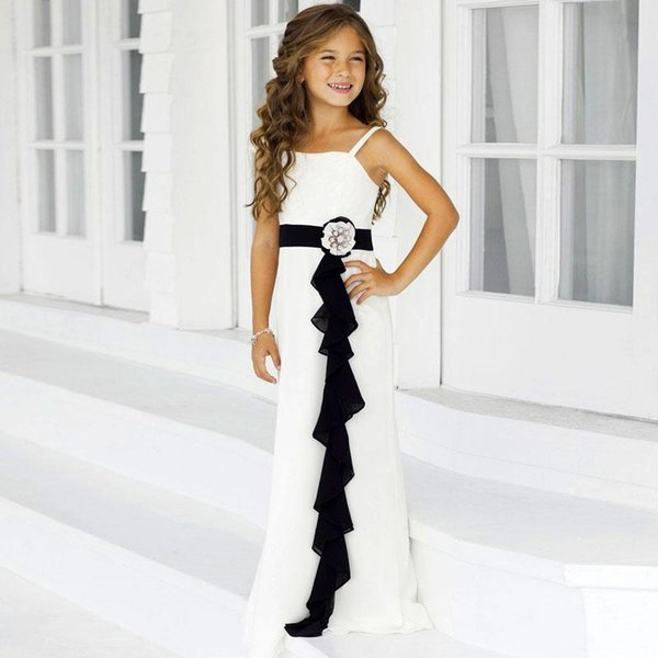 New Lovely Sheath Spaghetti Strap With Sashes Floor Length Ivory Chiffon Flower Girl Dresses For Wedding Party Girl Pageant Dresses