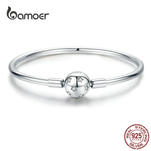 BAMOER Silver Star браслет стерлингового серебра 925 круглый клип Шарм Clear CZ Smooth Браслет 3мм Fit марка ювелирных изделий DIY SCB144