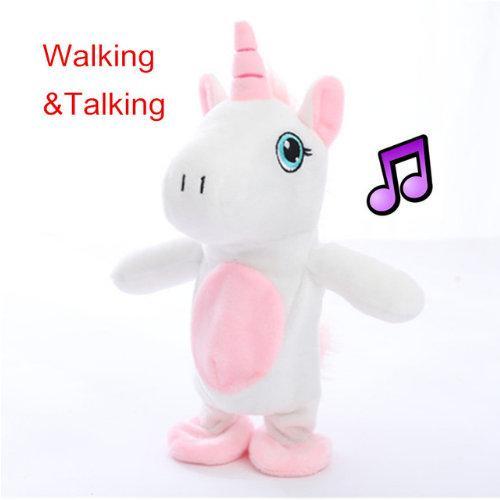 1pc 18 cm Kawaii WalkingTalking Unicornio de peluche de juguete de sonido de peluche Unicornio juguetes rellenos para niños regalo de cumpleaños muñeca