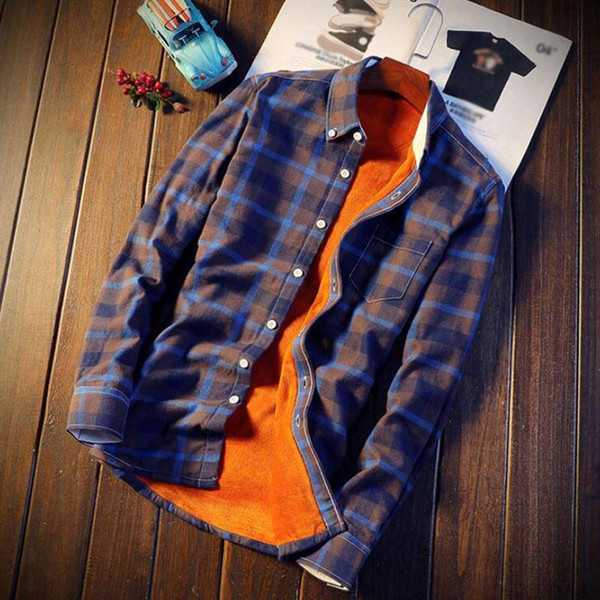 Shirt Men Plaid Flannel Shirts Mens Casual Autumn Winter Spring Thick Warm Fleece Cotton Long Sleeve Shirt 5XL Camisa Masculina