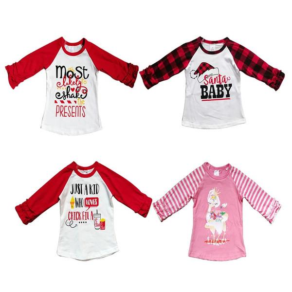 top popular Baby Kids T-Shirt Cartoon Printed Patchwork Christmas Tops Boys Designer Clothes Girls Halloween Tops Kids Thanksgiving Clothes 12M-7T 07 2020