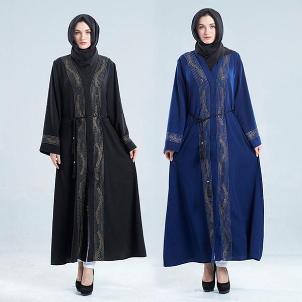 Yiwa Frauen Muslimischen Stil V Kragen Kleid Delicate Diamond Elegantes Kleid Party Abaya Frauen Türkei Islam Gebet Kaftan Marocain Kleider